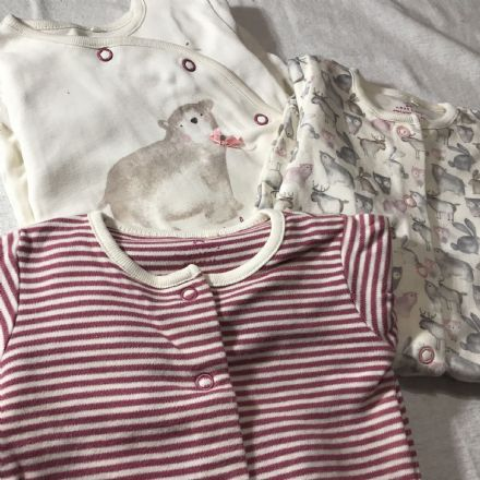 0-1 Month Burgundy Sleepsuits.